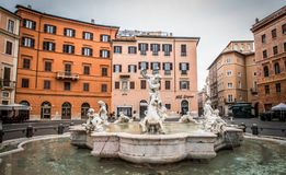 Piazza Navona. Fountain on famous square Piazza Navona in Rome at dawn, Italy Royalty Free Stock Photo