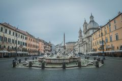 Piazza Navona. Fountain on famous square Piazza Navona in Rome at dawn, Italy Stock Photos