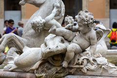 Piazza Navona Fountain of Neptun. Royalty Free Stock Photo