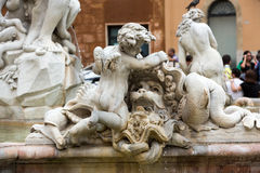 Piazza Navona Fountain of Neptun Royalty Free Stock Images
