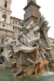 Piazza Navona Fountain, Rome. Detail of the Fountain of the Four Rivers in Piazza Navona, Rome, Italy. Master piece of Gian Lorenzo Bernini Stock Images