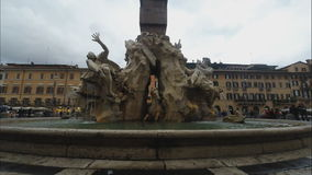 Piazza Navona with fountain stock video footage