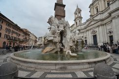 Piazza Navona, fountain, statue, water, town square. Piazza Navona is fountain, town square and water feature. That marvel has statue, monument and tourist stock photos