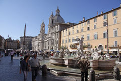 Piazza Navona Fountains Stock Photography