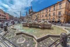 Piazza Navona with fountains Royalty Free Stock Photography