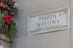 Piazza navona, marble sign Stock Image