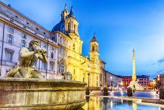 Piazza Navona and the Moor fountain, Rome, Italy, twilight view royalty free stock image