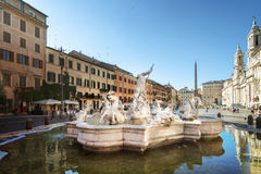 Piazza Navona in morning time, Rome. Italy Stock Photo