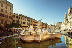Piazza Navona in morning time, Rome. Italy Royalty Free Stock Photo