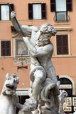 Piazza Navona, Neptune Fountain in Rome, Royalty Free Stock Photo