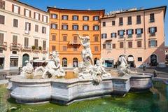 Piazza Navona, Neptune Fountain. Rome, Italy Royalty Free Stock Photo