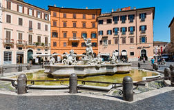 Piazza Navona, Neptune Fountain in Rome, Italy. Royalty Free Stock Photography