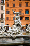 Piazza Navona, Neptune Fountain in Rome, Italy. Royalty Free Stock Photos