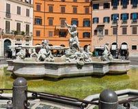 Piazza Navona, Neptune Fountain in Rome, Italy. Stock Photos