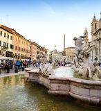 Piazza Navona Neptune Fountain in Rome, Italy Royalty Free Stock Image