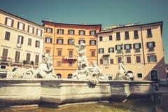 Piazza Navona, Neptune Fountain in summer Royalty Free Stock Photo