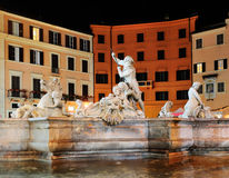Piazza Navona by Night. One of the fountains on Piazza Navona by night Stock Photo
