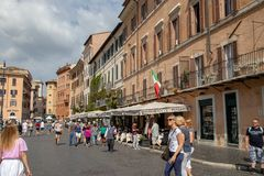 The Piazza Navona. Restaurants along the Piazza Navona in Rome, Italy royalty free stock photos