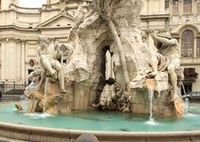 Piazza Navona, Roma. Detail of fountain of four rivers plaza Navona Roma stock photo