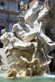 Piazza Navona  - Rome. The fountain of four rivers in Piazza Navona, a famous place in Rome - Italy - detail a statue Royalty Free Stock Photography