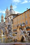 Piazza Navona, Rome. Piazza Navona is a city square in Rome, Italy. It is built on the site of the Stadium of Domitian, built in first century AD, and follows Stock Image