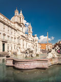 Piazza Navona in Rome. And Fountain of the Moor royalty free stock images