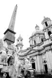 Piazza Navona, Rome. The Bernini fountain and the church of Sant'Agnese in Agone on Piazza Navona in the center of Rome Royalty Free Stock Images