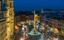 Piazza Navona in Rome during Christmas time. stock images