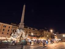 Piazza Navona in Rome, Italië bij nacht Royalty-vrije Stock Foto's