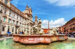 Piazza Navona, Rome, Italië Fontana del Moro stock fotografie