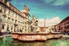 Piazza Navona, Rome, Italië Fontana del Moro wijnoogst stock afbeelding