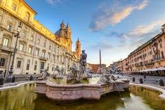 Piazza Navona Rome Italië Stock Afbeeldingen