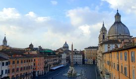 Piazza Navona, Rome, Italy. Aerial view over Piazza Navona in Rome, Italy on sunny day with blue skies royalty free stock images