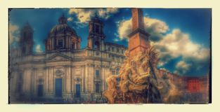 Piazza Navona, Rome, Italy with e. Piazza Navona in Rome, Italy with clouds and dreamy effects added royalty free stock images
