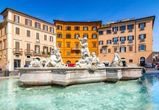 Piazza Navona, Rome, Italy, Europe. Rome ancient stadium for athletic contests. The Stadium of Domitian. Rome Navona Square is one of the best known landmarks stock images