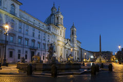 The Piazza Navona in Rome, Italy, by night Stock Image