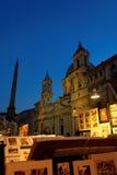 Piazza Navona, Rome, Italy. Pizza Navona art vendor at night in Rome, Italy royalty free stock image