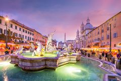 Piazza Navona in Rome, Italy. At twilight royalty free stock images