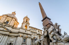 Piazza Navona in Rome. Sunset Stock Photos