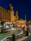 Piazza Navona in Rome tijdens Kerstmistijd Royalty-vrije Stock Fotografie