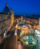 Piazza Navona in Rome tijdens Kerstmistijd Royalty-vrije Stock Afbeelding