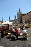 Piazza Navona at Rome Stock Images