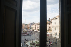 Piazza navona in Rome from a window of a building. Navona square in rome view from a window Royalty Free Stock Photo