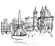 Piazza Navona sketch Stock Image