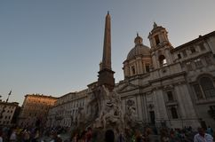 Piazza Navona, sky, town square, landmark, town. Piazza Navona is sky, town and building. That marvel has town square, city and plaza and that beauty contains royalty free stock images