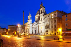 Piazza Navona Square at night, Rome, Italy. Stock Images
