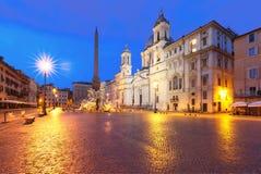 Piazza Navona Square at night, Rome, Italy. Royalty Free Stock Photo