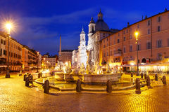 Piazza Navona Square at night, Rome, Italy. Stock Image