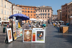Piazza Navona, street view with paintings for sale Royalty Free Stock Images