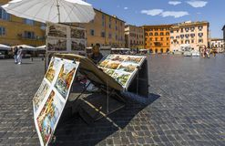 Piazza Navona on a sunny day stock photography